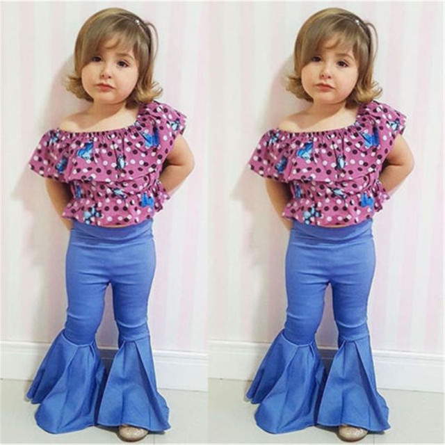 5acadf15fb831 US $4.66 25% OFF|CANIS Family Mommy Mom And Me Daughter Matching Clothes  Pants Girls Women Stretch Bell Bottoms Flare Long Denim Jeans Blourse-in ...