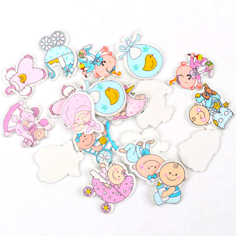 Blue/Pink Baby Series Pattern Scrapbooking Craft DIY Embellishment For Handmade Sewing Home Decoration DIY 20pcs 24-25mm