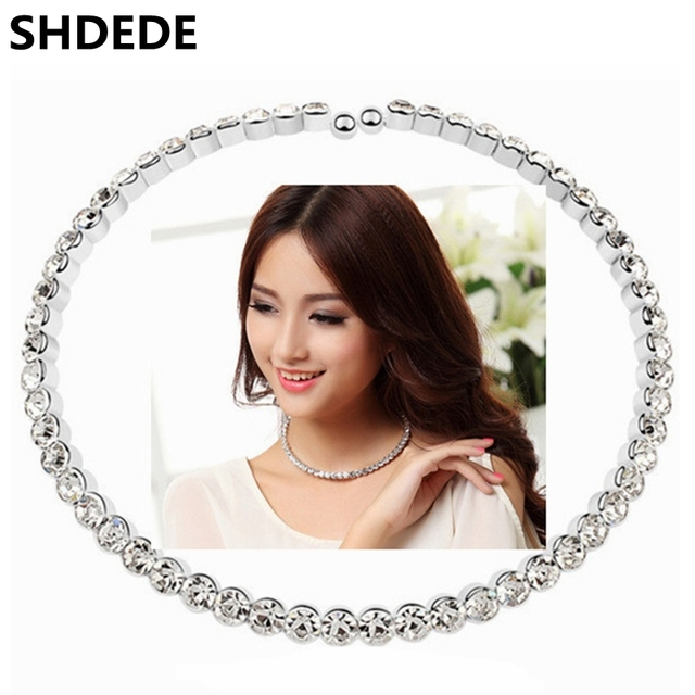 SHDEDE Choker Necklace Women Fashion Statement 2016 Austrian Crystal Jewelry Bride Rhinestone Necklace Wedding 10366