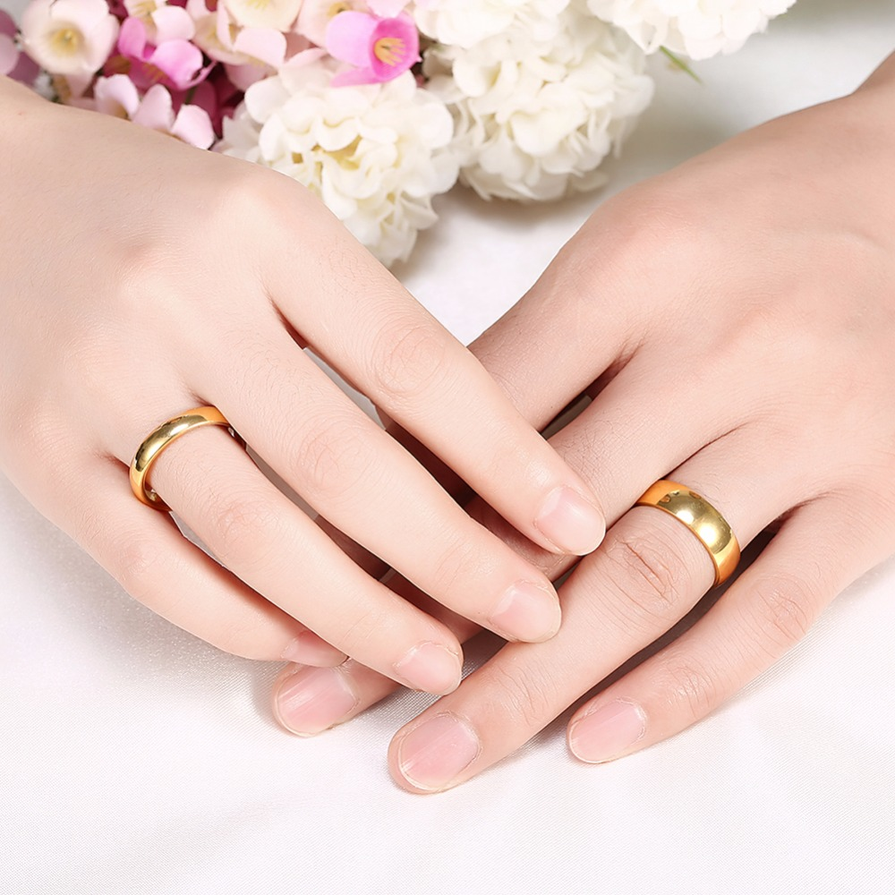 Simple Couple Wedding Rings Pair Gold Color Couple Rings Stainless ...