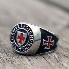 Mens Knights Templar Cross Masonic Stainless Steel Ring Freimaurer Biker Jewelry