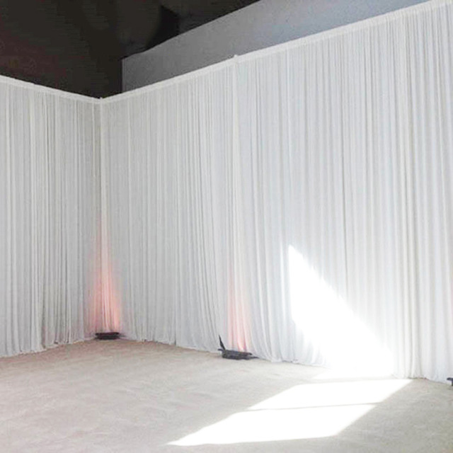 3X3M Simple white ice silk party curtain wedding event backdrops for stage decoration