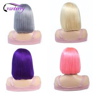 Image 5 - Peluca de Bob corto liso peruano Remy, peluca de color Bob con encaje frontal de cabello humano para mujer, línea de cabello Natural prearrancado sin pegamento