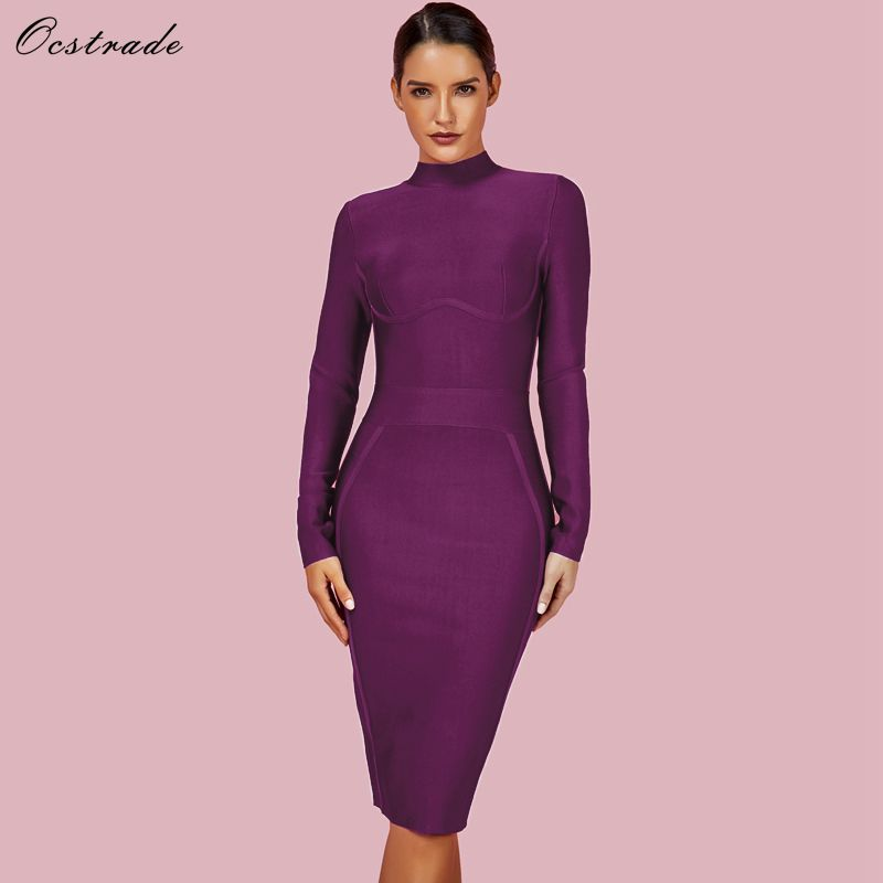 Ocstrade Womens Christmas Party 2019 Winter Vestido New Bandage Dresses High Neck Purple Rayon Sexy Bandage Dress Long Sleeve