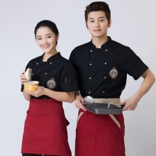 Short Sleeved Chef Service Unisex Kitchen Uniforms Sleeve Breathable Double Breasted Jackets Food Services Cooking
