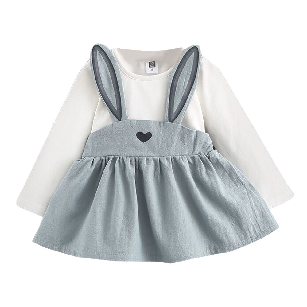 b339c5a7a499 0-3 Years Old Autumn Baby Kids Toddler Girl Cute Rabbit Bandage Suit Mini  Dress