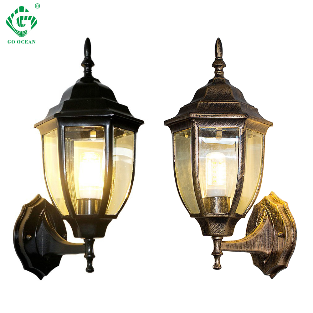 Led Lamps Outdoor Wall Sconce Black Bronze Wall Lamp E27 Bulb Up Down Lights Garden Coach Yard Outside Exterior Garage Sconces Porch Light Lights & Lighting