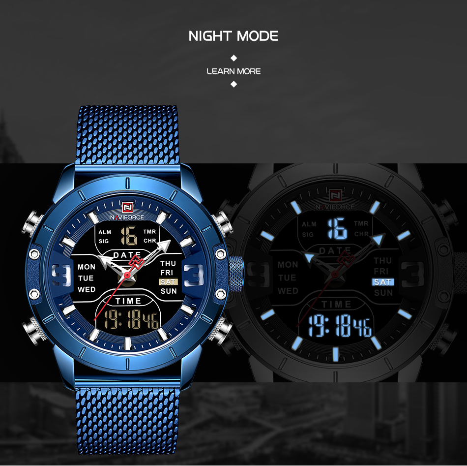 NAVIFORCE Stainless Steel Mens Military Watch