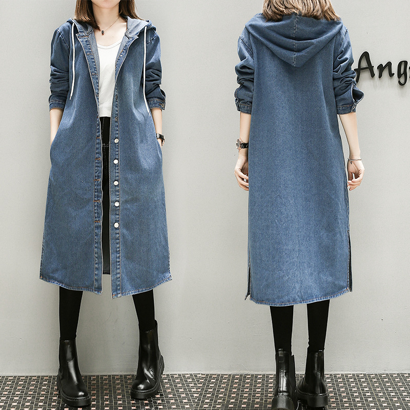 New Female Plus Large Size Hooded Denim Dress High Quality Women Autumn Winter Long Casual Jeans
