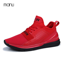 MANLI Basket Femme 2017 Men Casual Shoes Luxury Brand Red Pu Breathable High Top Flats Shoes For Men Boots Chaussure Homme