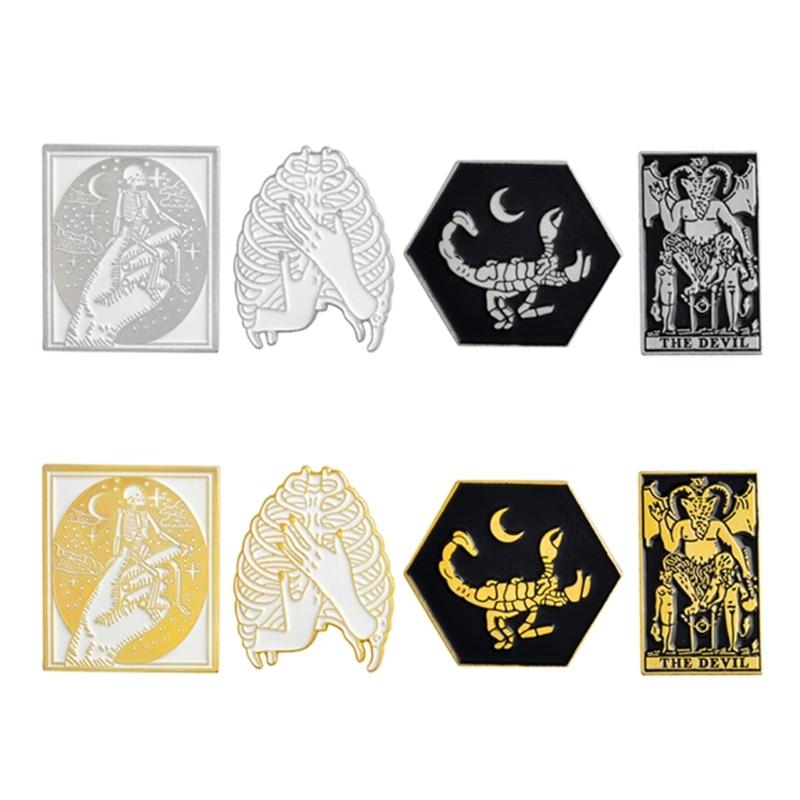 4Pcs Skeleton The Devil Scorpion Enamel Brooch Pins Badge Gothic Brooch Gift YR