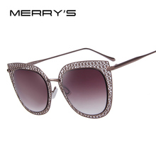 MERRY'S Fashion Women Cat Eye Sunglasses Women Classic Carving Alloy Frame Light-weight Shades UV400 S'8012