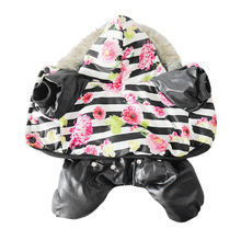 Black Flower Autumn Winter Pet Dog Clothes Warm Cotton Dog Coat Jackets Sport Style Puppy Hooded Clothing For Small Medium Dogs