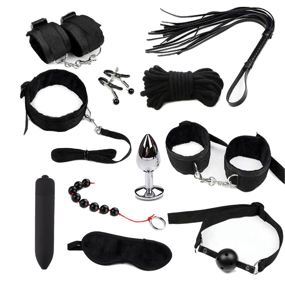 Sex Toys For Couples Exotic Accessories Nylon BDSM Sex Bondage Set Sexy Lingerie Handcuffs Whip Rope Anal Vibrator Sex Products