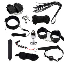 Sex Toys for Couples Exotic Accessories Nylon BDSM Sex Bondage Set Sexy Lingerie Handcuffs Whip Rope Anal Vibrator Sex Products(China)