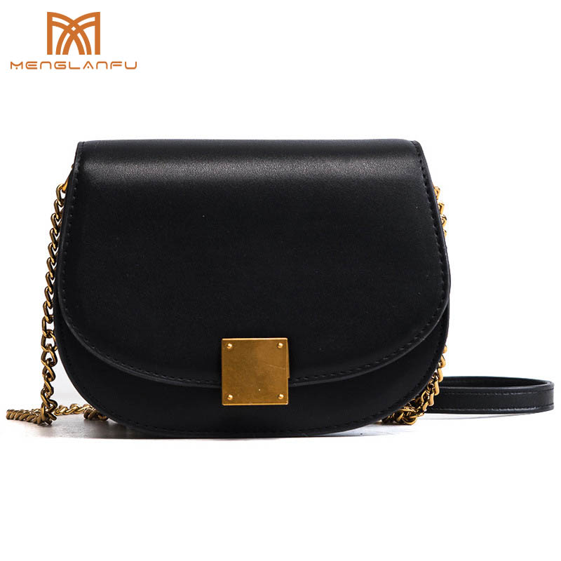 New 2018 Women Pu leather Saddle Shoulder bag Fashion Lady Solid Chain Messenger bag Designer Small sac a main femme Flap Black 2017 new simple mini women shoulder bag fashion chain messenger bags high quality pu leather cross body for lady small bag