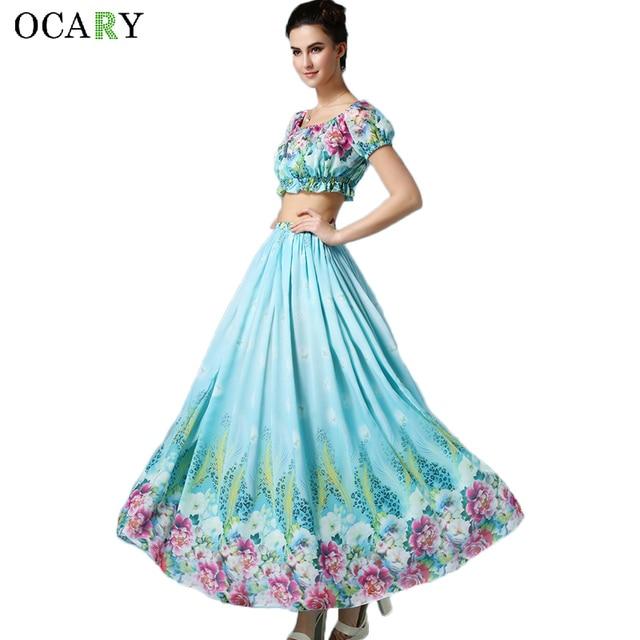 Aliexpress.com : Buy Fashion 2 Piece Women Crop Top and Skirt Boho ...