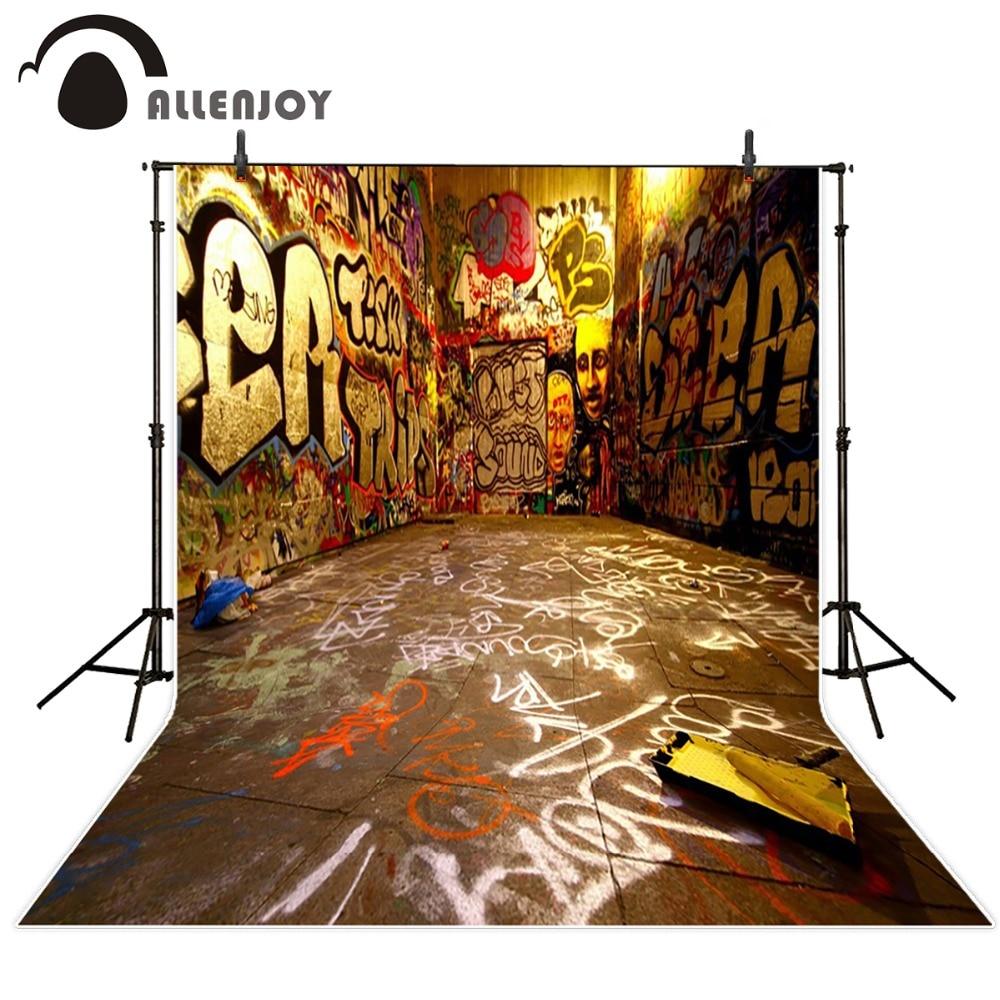 Allenjoy photo background graffiti background photography for photo studio children backdrop 3D street photocall photo booth  недорого