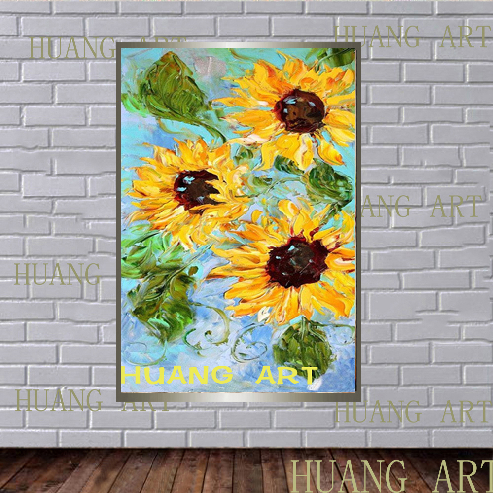 Flowers modern abstract art outfit yellow chrysanthemum knife flower oil painting wall decoration home hotel frameless