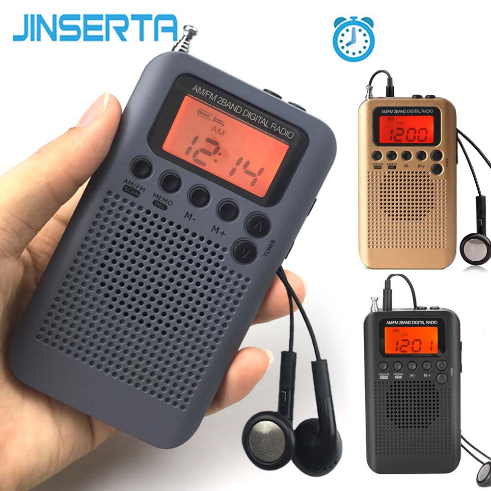 JINSERTA Mini LCD Digital FM/AM Radio Speaker with Alarm Clock and Time Display Function 3.5mm Headphone Jack and Charging Cable