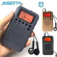 Jinserta 미니 lcd 디지털 fm/am 라디오 스피커 (알람 시계 및 시간 표시 기능 포함) 3.5mm 헤드폰 잭 및 충전 케이블