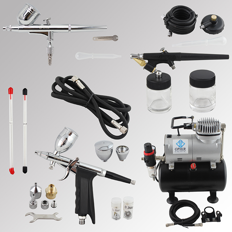 OPHIR Pro Airbrush Kit with Air Tank Compressor for Car Paint Body  Temporary Tattoo Compressor Air-brush Set_AC090+004A+071+069 3pcs oem black piano paint chrome car center console air condition vents for passat b6 b7 cc r36 3ad 819 701 a 3ad 819 702 a