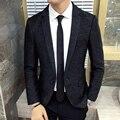 Arruga Negro Blazer Slim Fit Nueva Llegada Otoño Invierno Formal Blazer Masculino chaqueta hombre Chaqueta de Cena formal de Fumar