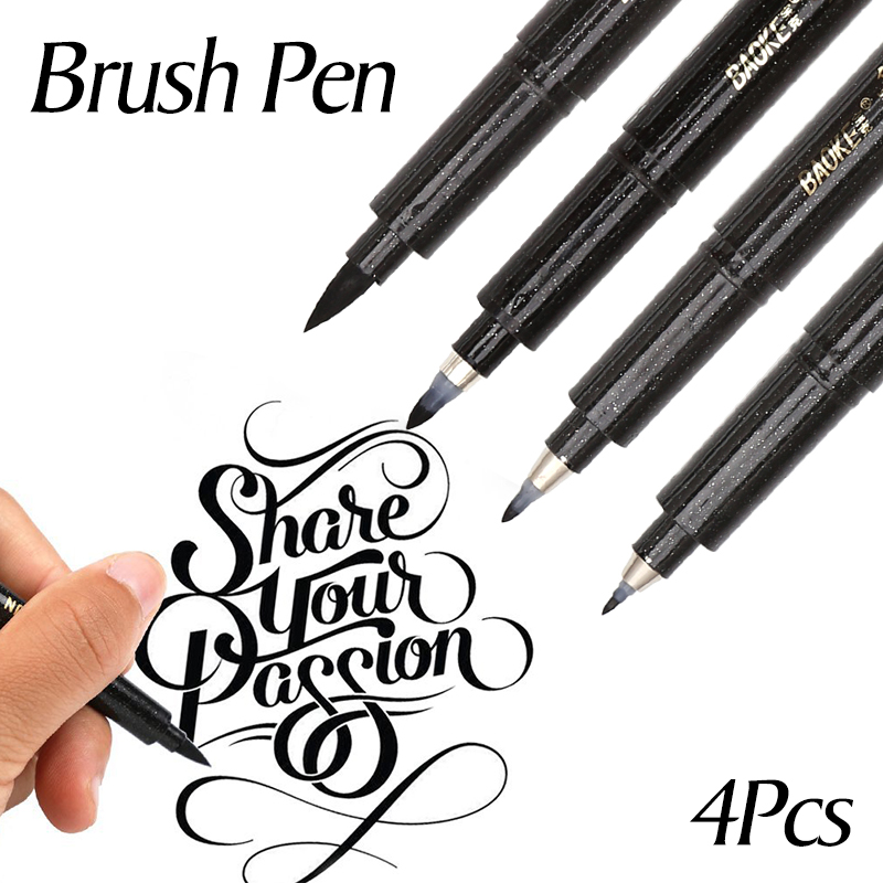 Dainayw 4pcs Drawing Sketch Markers Multi Function Soft Brush Calligraphy Pen Hand Lettering Pen For School Writing Art Supplies