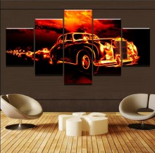 Flame Car HD Print Painting 5 Piece Canvas Art Modern Decorative painting on canvas poster Room Artwork