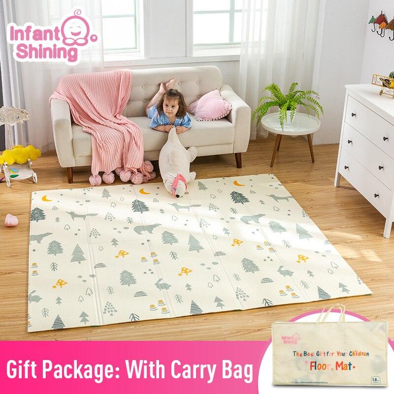 Bébé brillant 200 cm * 180 cm * 1 cm bébé jouer tapis pliant XPE ramper Pad maison en plein air pliant imperméable Puzzle jeu Playmat