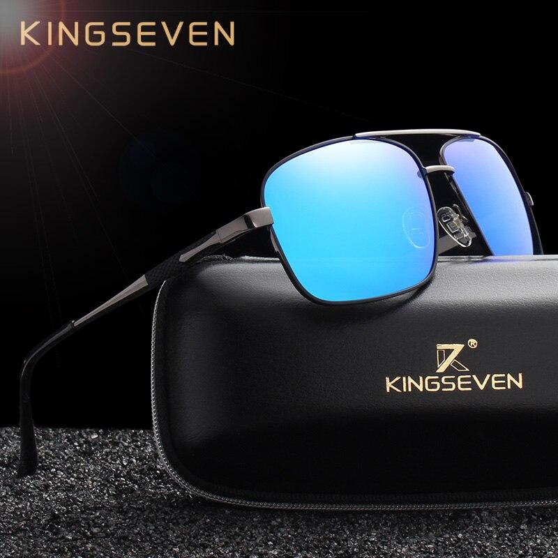 KINGSEVEN DESIGN Homens Quadrados Óculos De Sol Moda Masculina Óculos  Polarizados Aviação 100% Proteção UV 4c956f5616