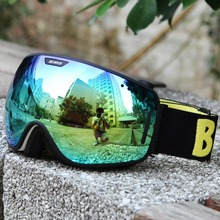 2016 New coming unisex unique skiing goggles with anti fog and anti scratch 100 UV skiing