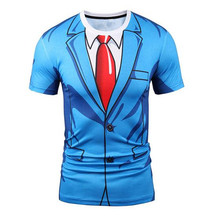Men/women fashion brand shirt jacket 3 d printing shirt blue suit summer Remata t-shirts false two-piece T shirt
