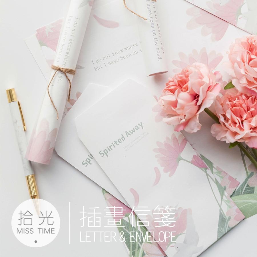 9 Pcs/Set 3 Envelopes+6 Sheets Letter Paper Novelty Spirited Away Series Envelope Gift Stationery