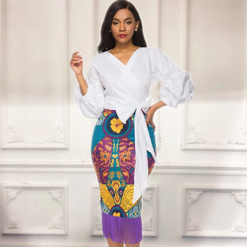 Women 2 Piece Sets White Blouses Shirts Tops Pinted Skirts Patchwork Tassels Puff Sleeves Summer Fashion Slim Fringe Jupes Saias