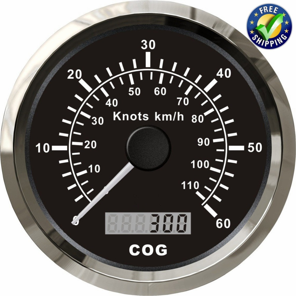 Marine Instrument Panel Gauge 85mm 0 110km/h GPS Speedometers 0 60knots Waterproof Speed Chart Odometers with Antenna for Boat