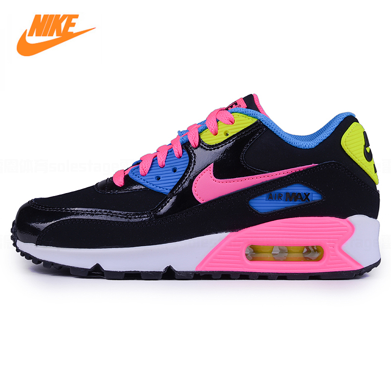 Nike Air Max 90 GS Black Rainbow Women's Retro Cushioning Sneakers Running Shoes 724855-004 advu 25 70 p a advu 25 80 p a advu 25 100 p a festo compact cylinders pneumatic cylinder advu series