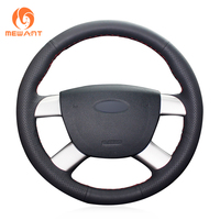 MEWANT Black Artificial Leather Hand Sew Car Steering Wheel Cover for Ford Kuga 2008 2011 Focus 2 2005 2011 C MAX 2007 2010