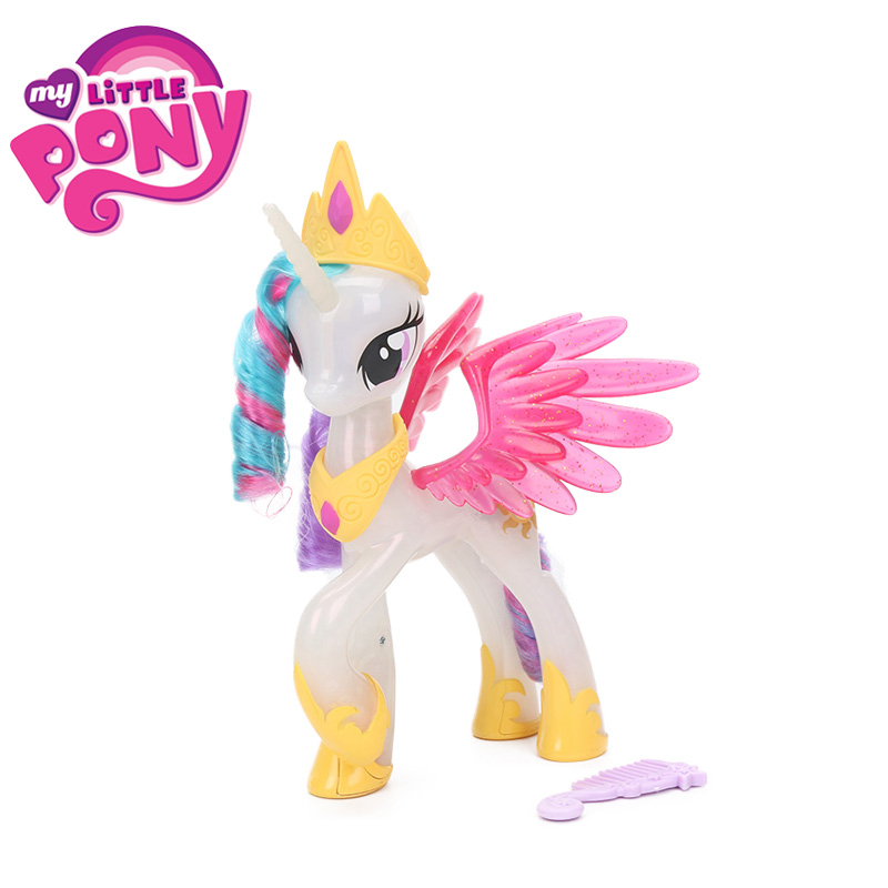 19cm Electronic My Little Pony Toys the Movie Princess Celestia GLITTER & Glow PVC Action Figure Colletible Model Dolls Toy декор для стен