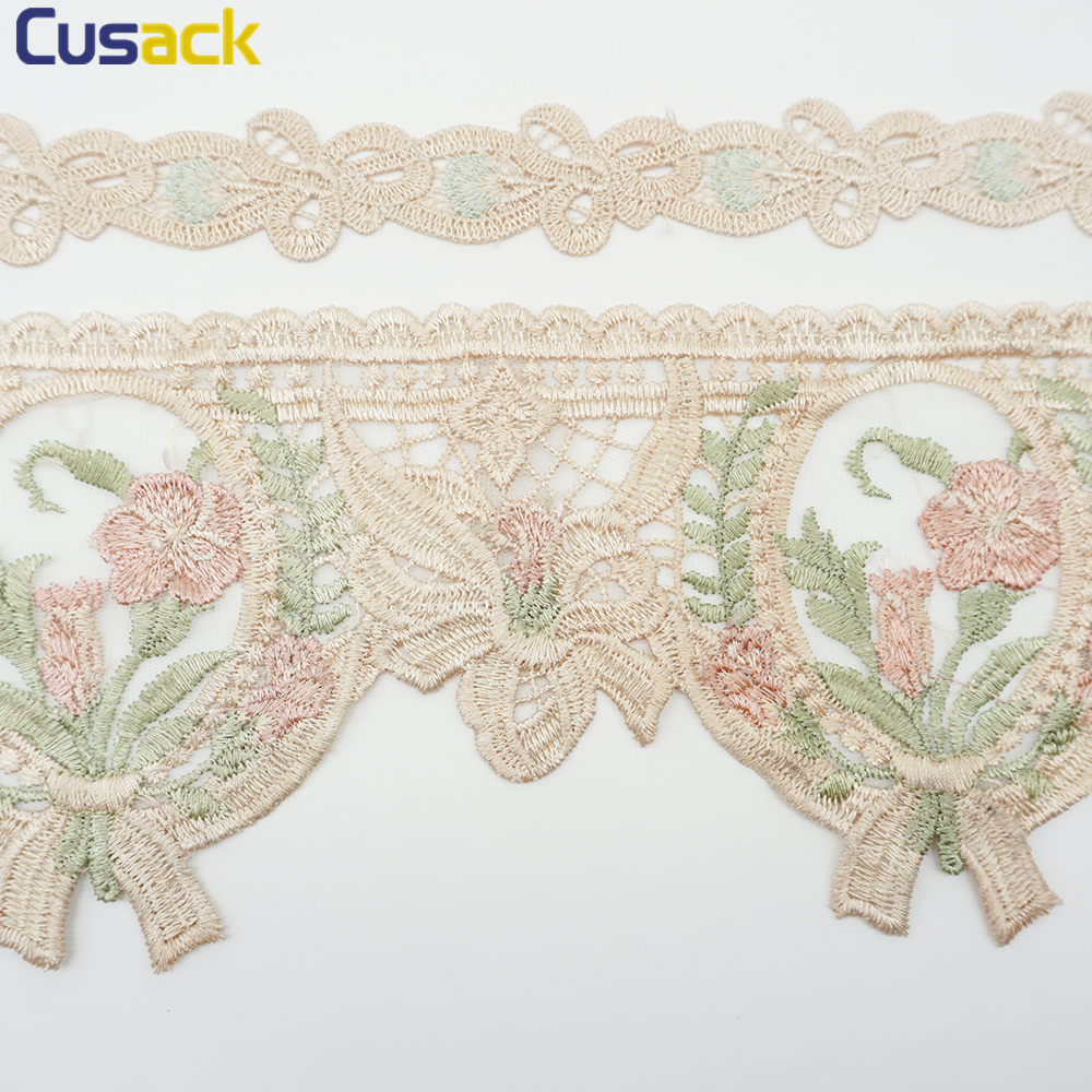 BF177 2PC Flower Motif Fabric Embroidered Lace Trim Sewing Applique Dress Decor