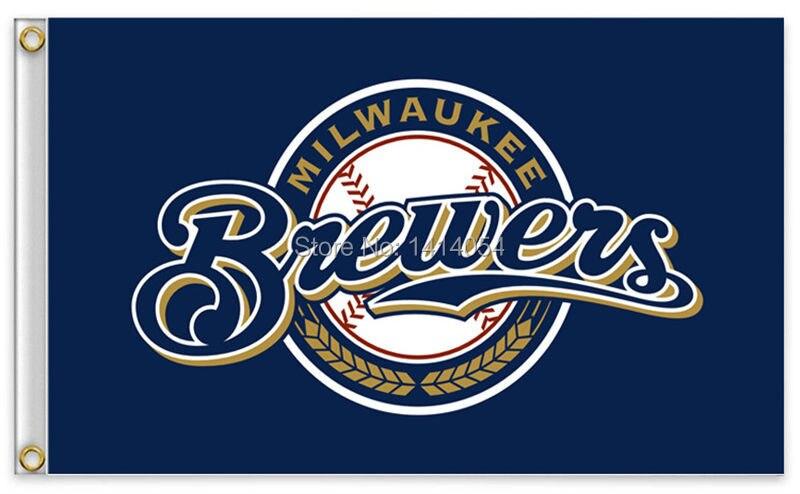 Milwaukee Brewers mit modifizierten Flagge 150X90 CM MLB 3x5 FT Banner 100D Polyester flagge ösen 09, freies verschiffen