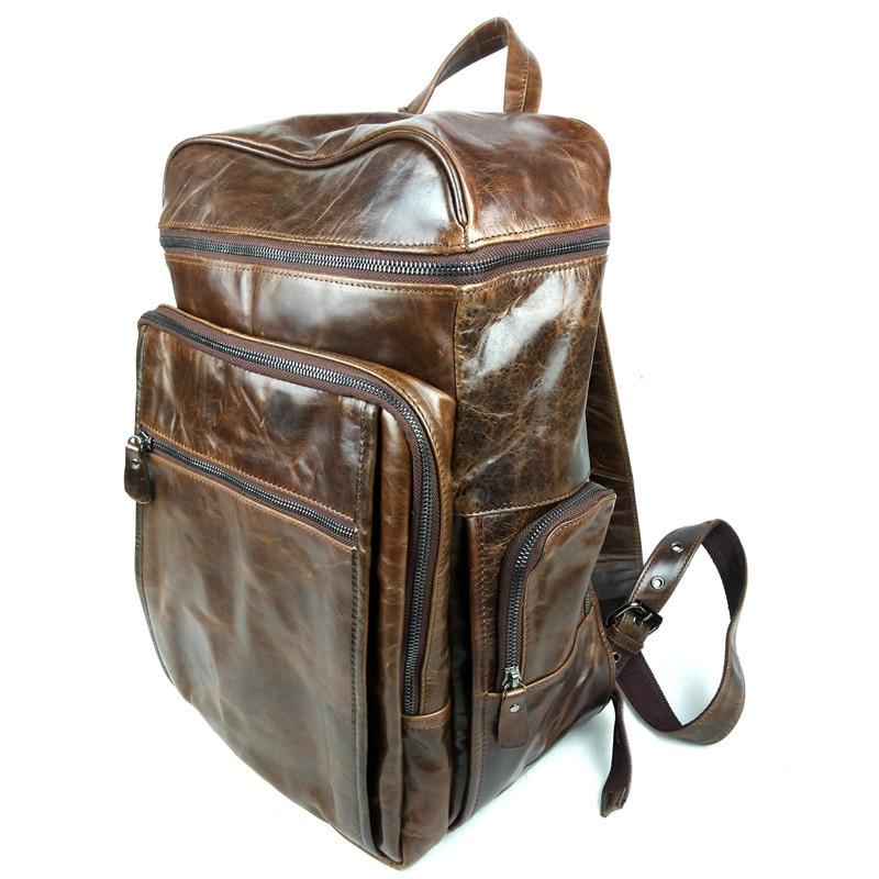 woman mens genuine Oil wax greased leather cowhide coffee black travel back packs Shoulder hand Laptop school Bags satchel