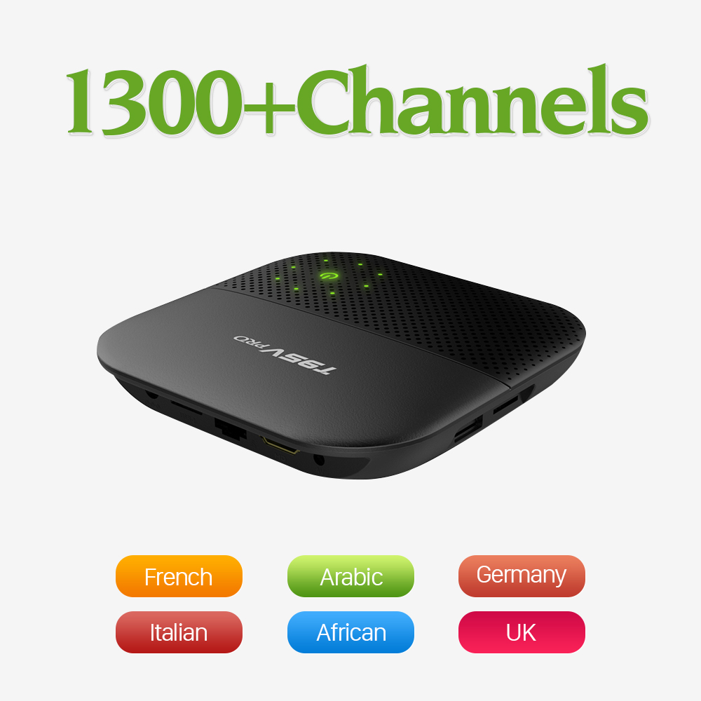 T95Vpro Android 6.0 Smart Set-top TV Box 4K IPTV Media Player with Free 1300 QHDTV IPTV 1Year Europe Arabic French Italy Germany gotit cs918 android 4 4 tv box with 1year arabic royal iptv europe africa latino american iptv rk3128 media player smart tv box