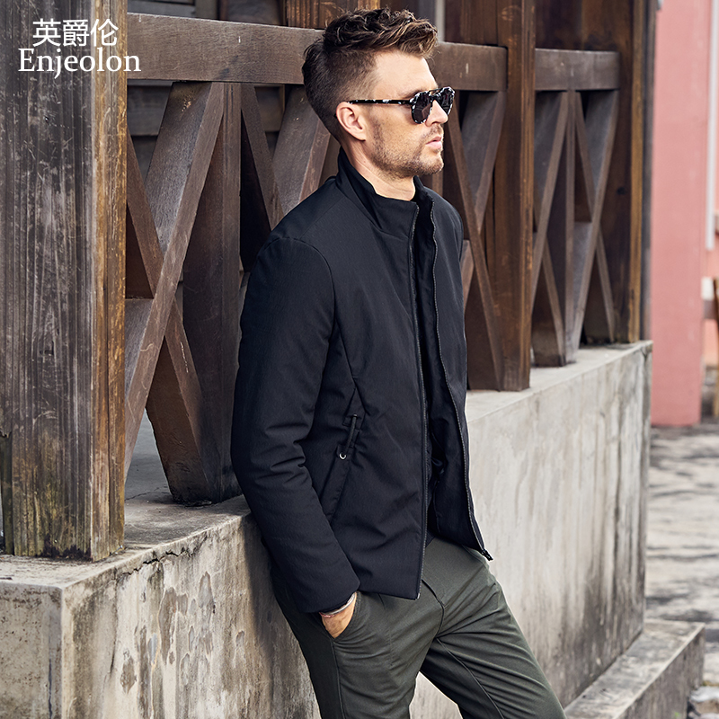 Enjeolon Brand Cotton Padded Jacket coat Men black Parka stand collar coat Thick Quilted fashion plus size 3XL Coat Men MF0619 stand collar ruffle hem quilted coat