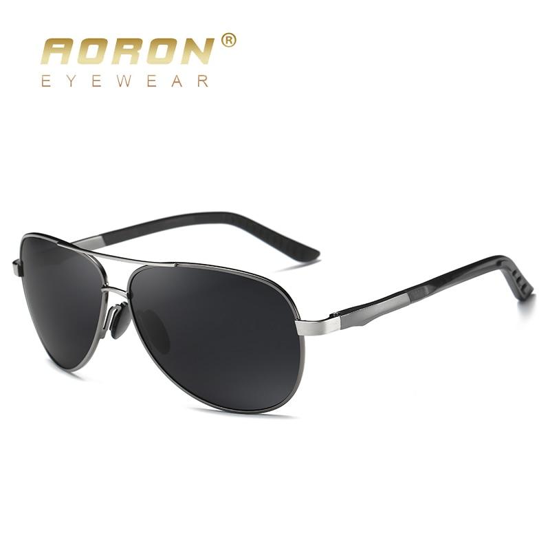 AORON Aluminum Men Polarized Sunglasses Men Brand Original Design Goggles Male Metal Frame UV400 Glasses Gafas De Sol