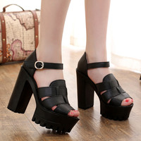 New 2016 Summer Shoes Open Toe Sandals Platform Thick Heel High Heeled Shoes White Black Women