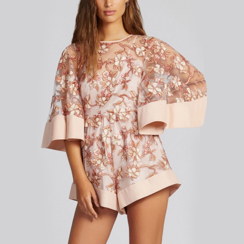 eedba7bdb65b 2017 Fashion Lace Pink Mesh Embroidered Romper Boho Womens Girls Loose  Playsuits Flare Sleeve Sexy Overalls-in Rompers from Women s Clothing on ...