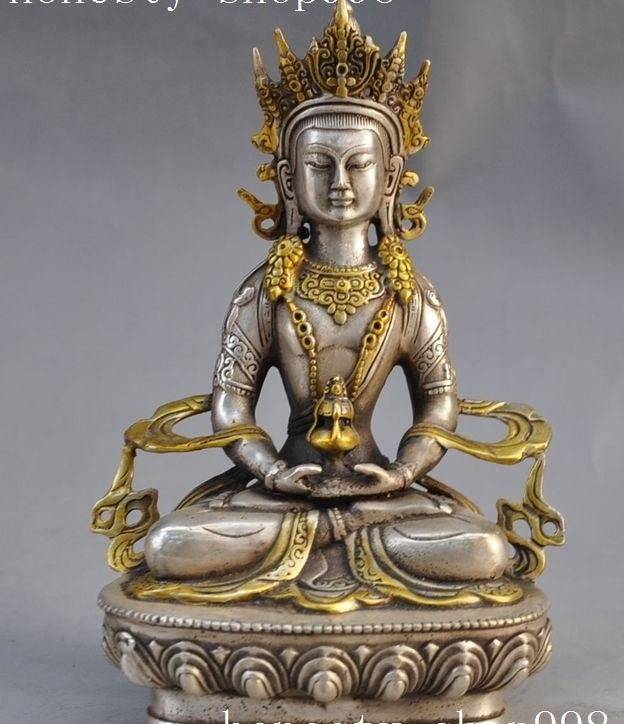 """8""""Old Tibet buddhism silver Amitayus Guanyin Kwan-yin Bodhisattva buddha Statue"""