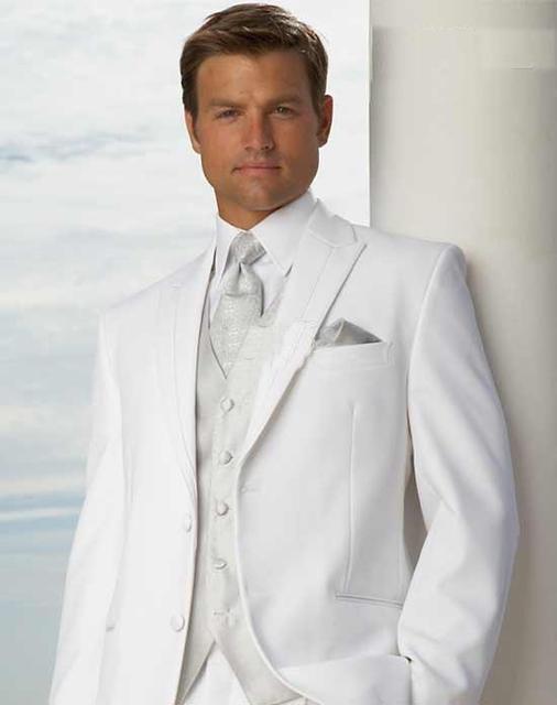 Дешевые цены-Белый Смокинги Groom мужская Свадебное Платье подходит Пром Одежда