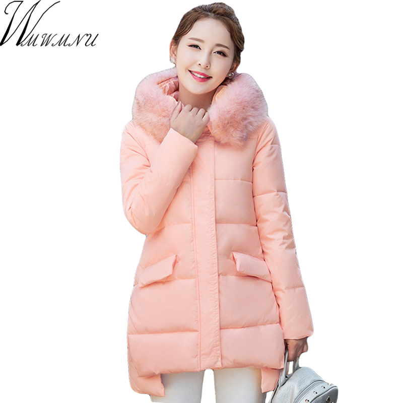 Wmwmnu Female Winter big Fur Collar Jacket Hooded parkas 2017 Women's winter jacket Thick warm Quilted Coat Coat Female ls628 women winter coat leisure big yards hooded fur collar jacket thick warm cotton parkas new style female students overcoat ok238